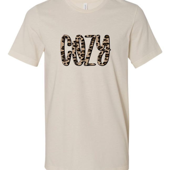 Cozy Leopard Holiday Short Sleeve Graphic Tee