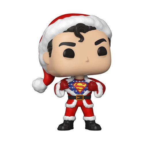 dc holiday superman with sweater pop vinyl figure