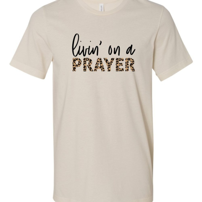 Leopard Livin` On Prayer Crew Neck Softstyle Tee