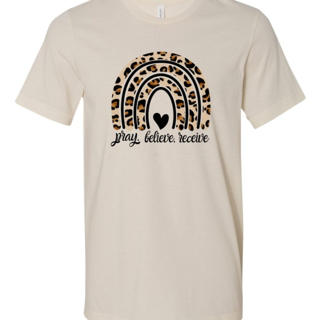 Pray Believe Receive Leopard Rainbow Softstyle Tee cream