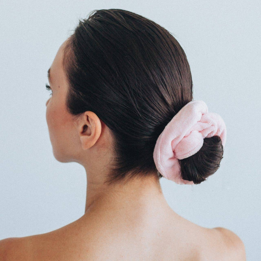 Microfiber Scrunchies - Package of 2 Kitsch Microfiber Towel Hair Scrunchies with Travel Pouch