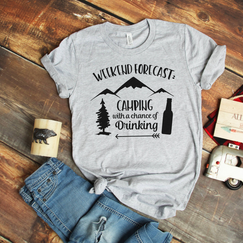 Camping with a chance of drinking T-shirt Light Gray