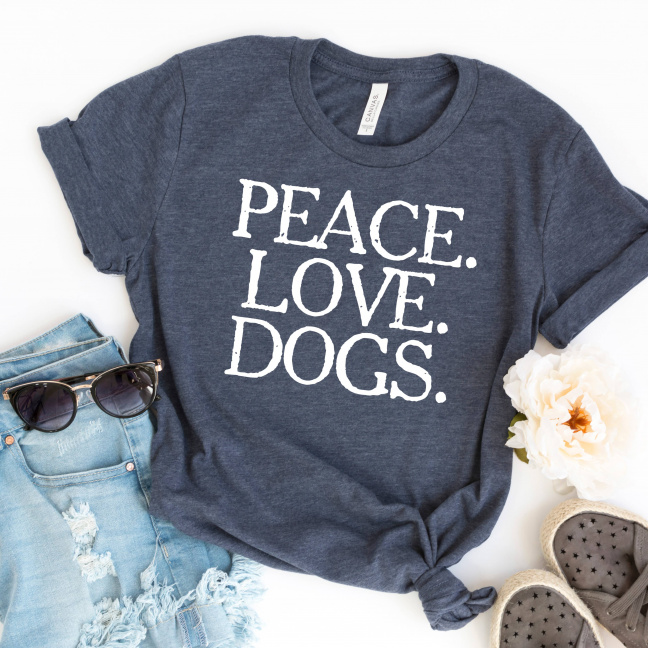 Peace Love Dogs T-shirt Dark Gray