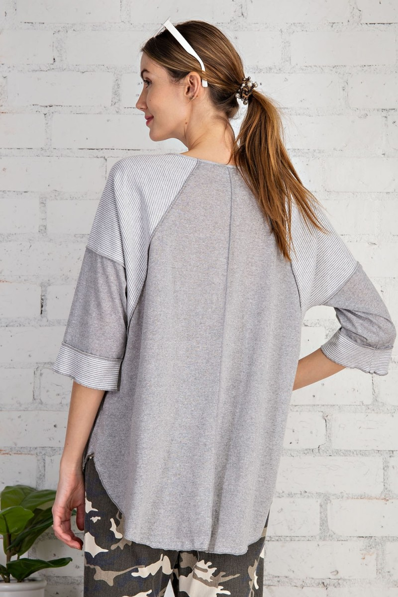 Cotton span mix stripe contrast loose fit top heather gray back