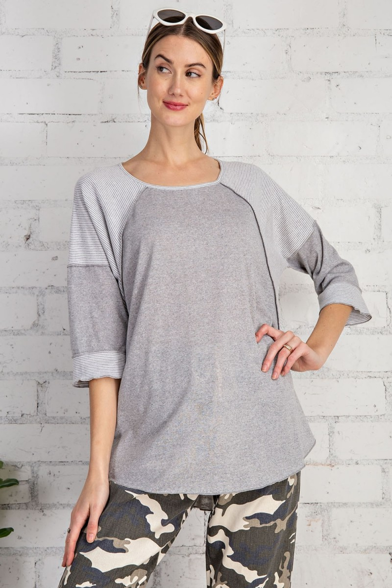 Cotton span mix stripe contrast loose fit top heather gray front close