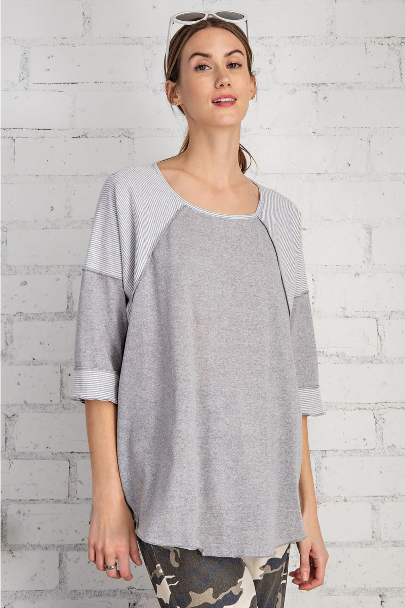 Cotton span mix stripe contrast loose fit top heather gray front