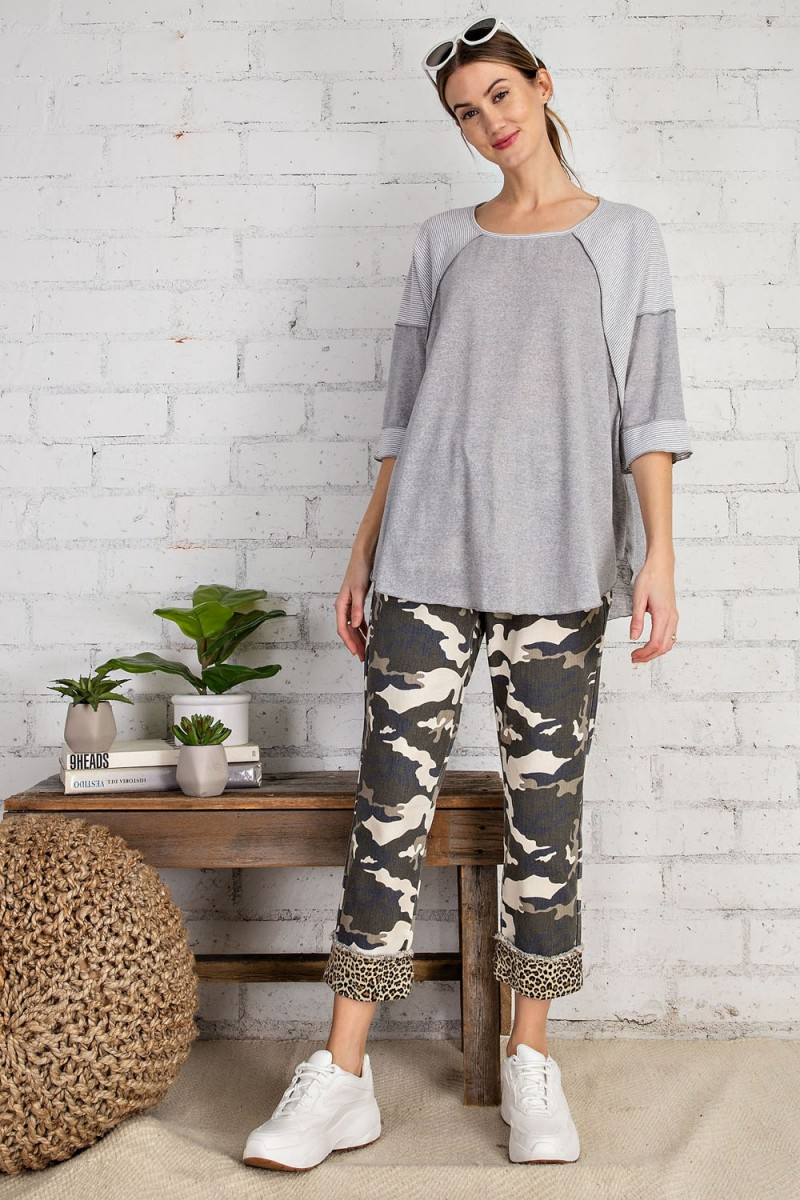 Cotton span mix stripe contrast loose fit top heather gray full