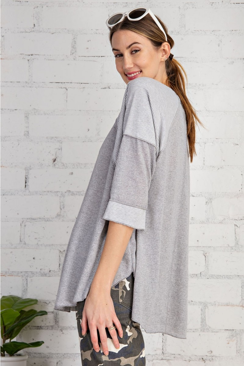 Cotton span mix stripe contrast loose fit top heather gray side