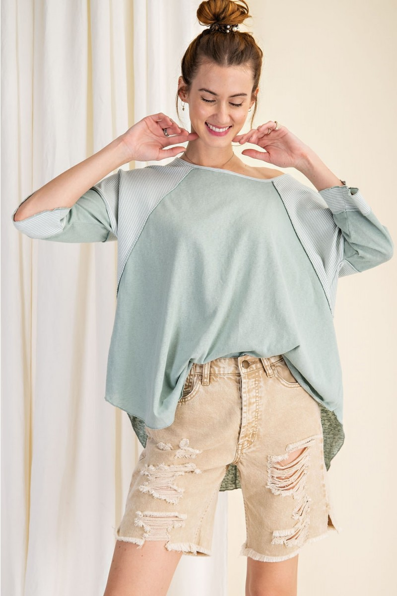 Cotton span mix stripe contrast loose fit top heather sage front full
