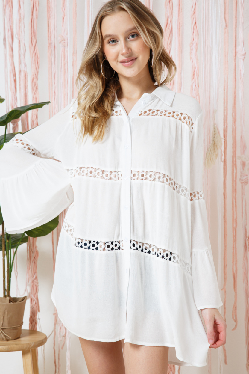 Crochet Lace Bell Sleeve Collared Cover Up front hem held