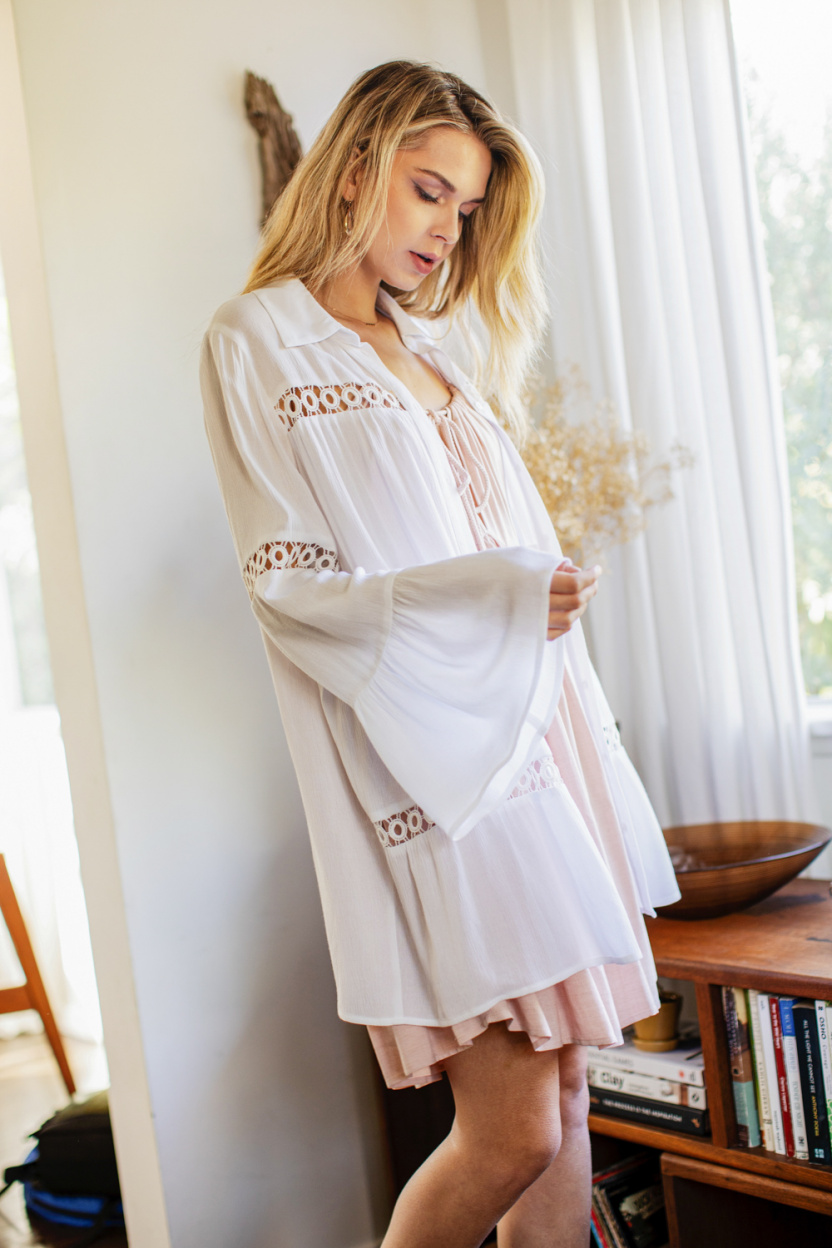 Crochet Lace Bell Sleeve Collared Cover Up modelled