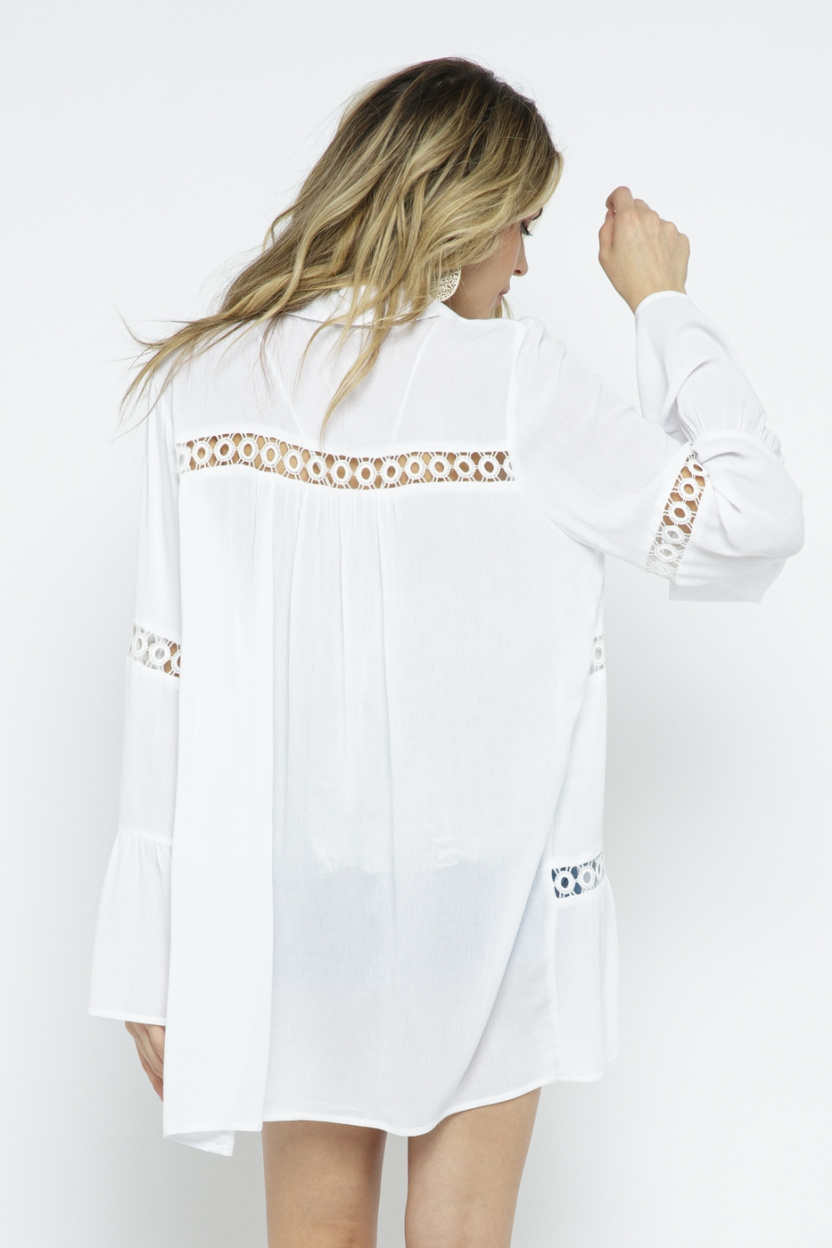 Crochet Lace Bell Sleeve Collared Cover Up Off White back 2