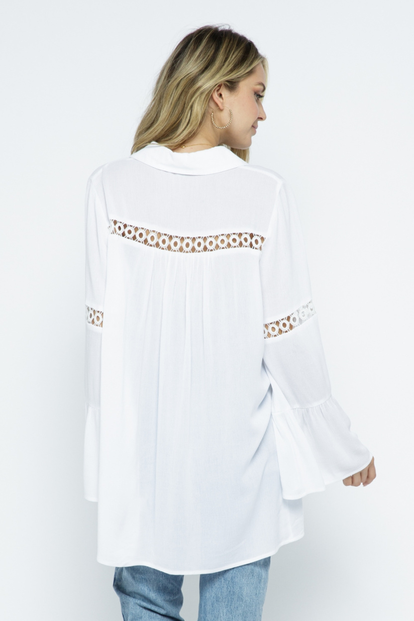 Crochet Lace Bell Sleeve Collared Cover Up Off White back