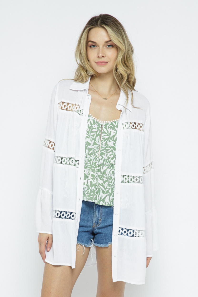 Crochet Lace Bell Sleeve Collared Cover Up Off White front 2