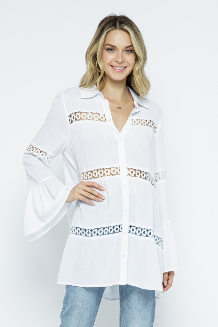 Crochet Lace Bell Sleeve Collared Cover Up Off White front 4