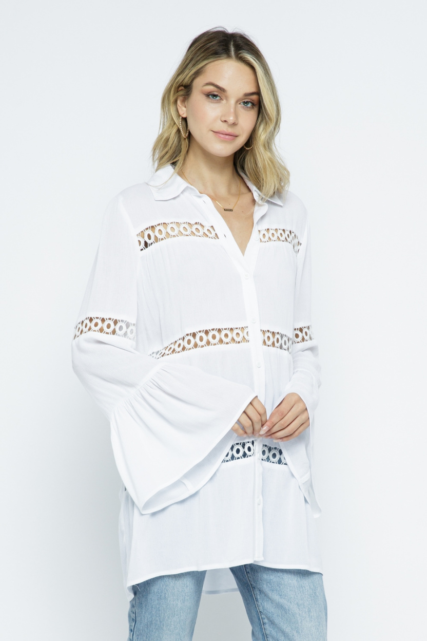 Crochet Lace Bell Sleeve Collared Cover Up Off White front