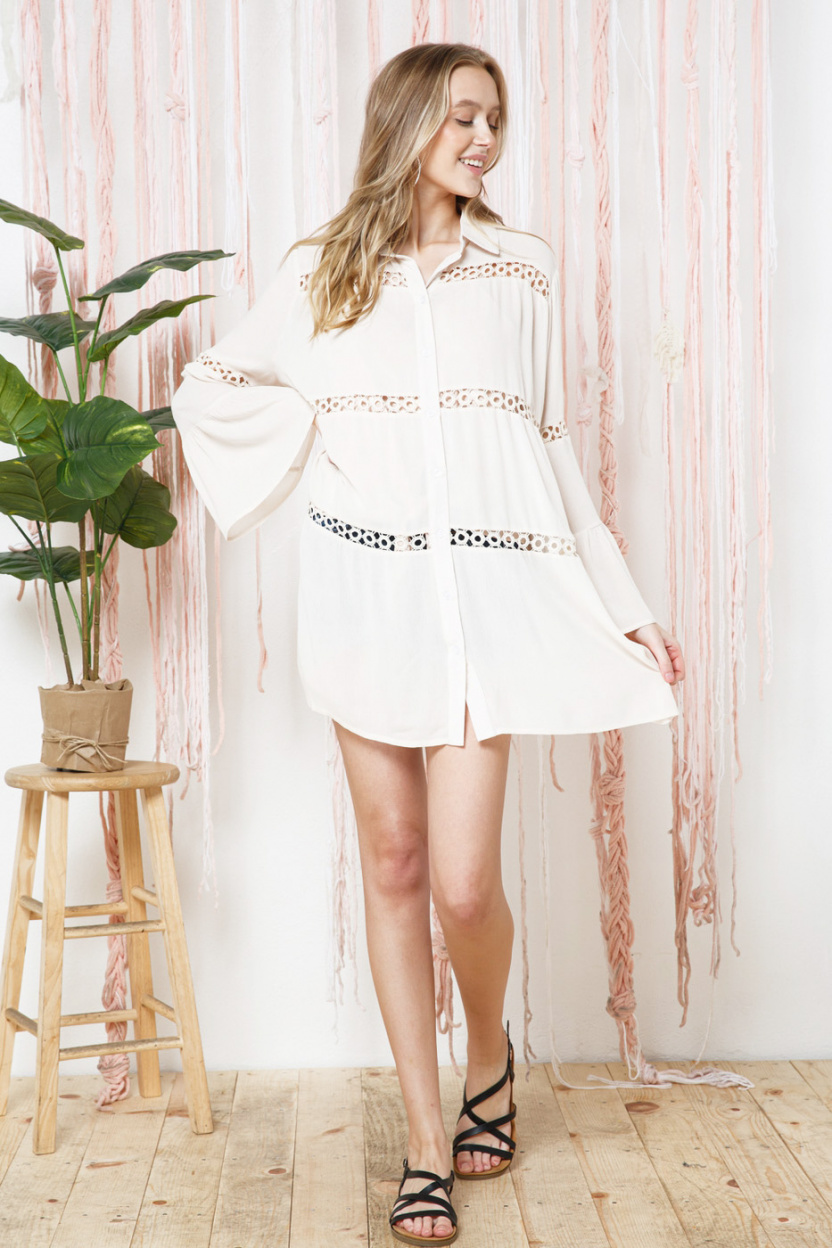 Crochet Lace Bell Sleeve Collared Cover Up pulled