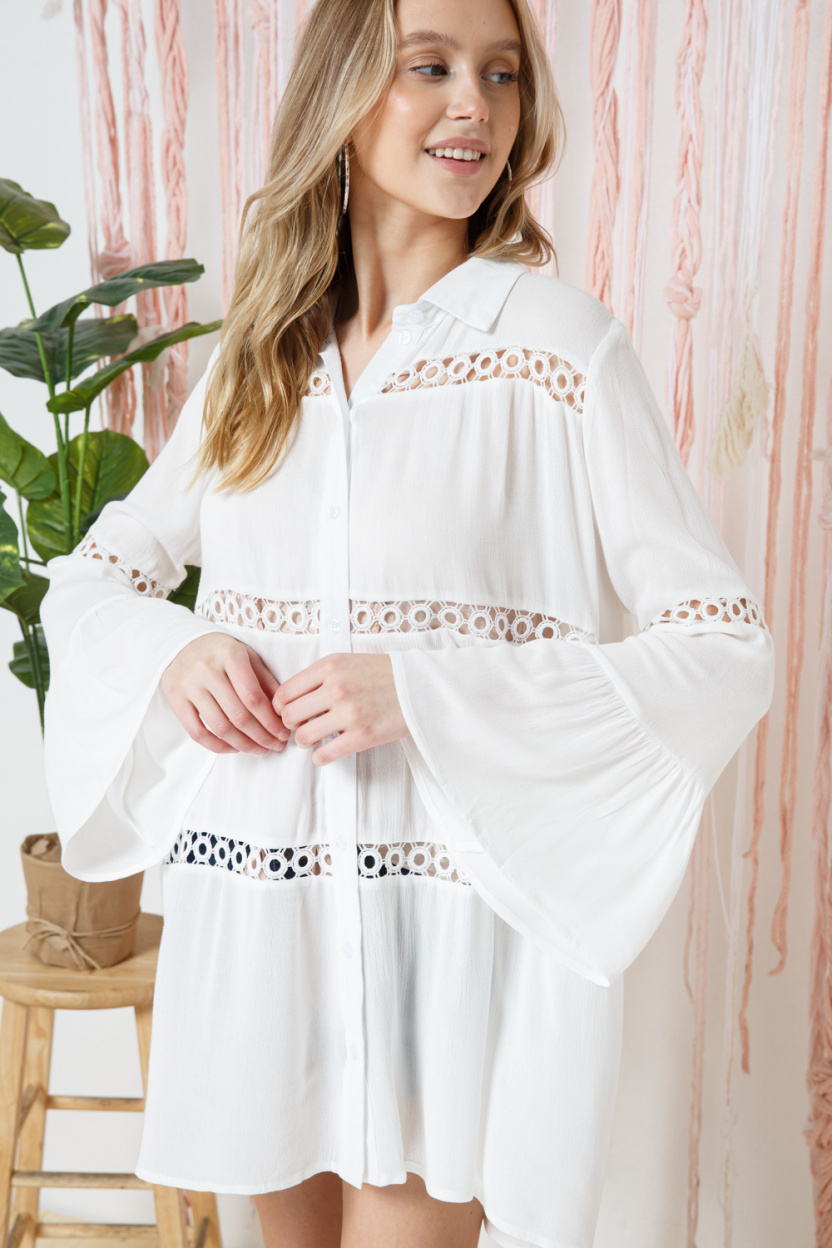 Crochet Lace Bell Sleeve Collared Cover Up side
