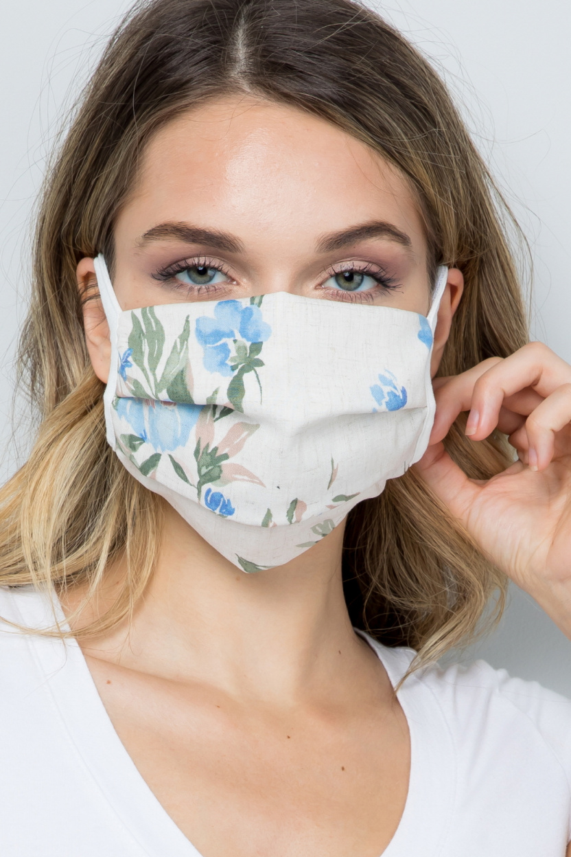 Double Layered Soft Linen Floral Fabric Face Mask front 2