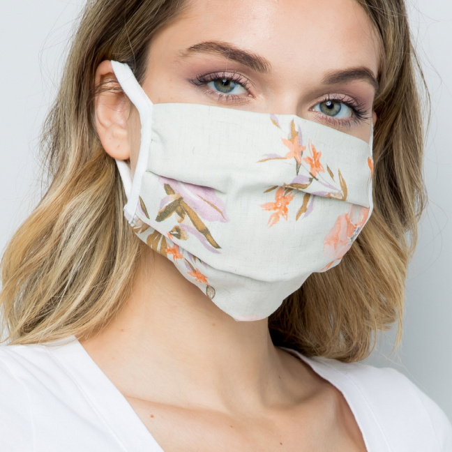 Double Layered Soft Linen Floral Fabric Face Mask front