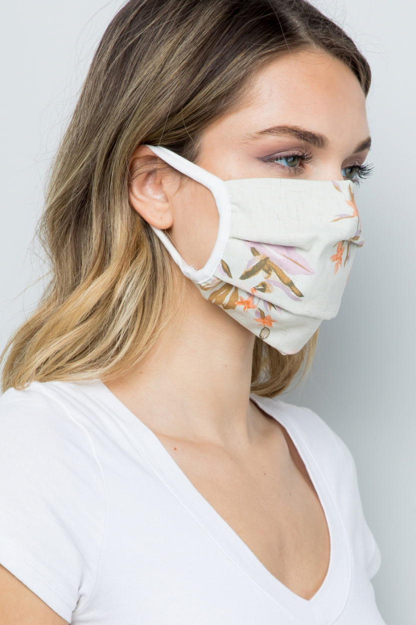 Double Layered Soft Linen Floral Fabric Face Mask side