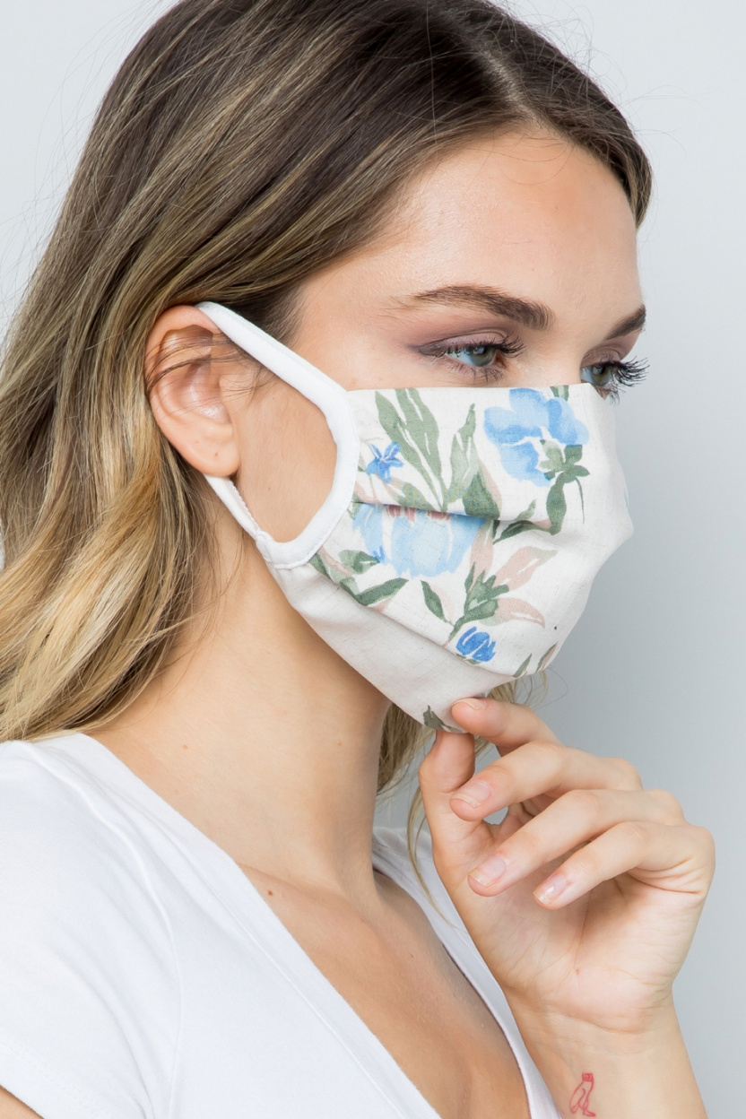 Double Layered Soft Linen Floral Fabric Face Mask side close