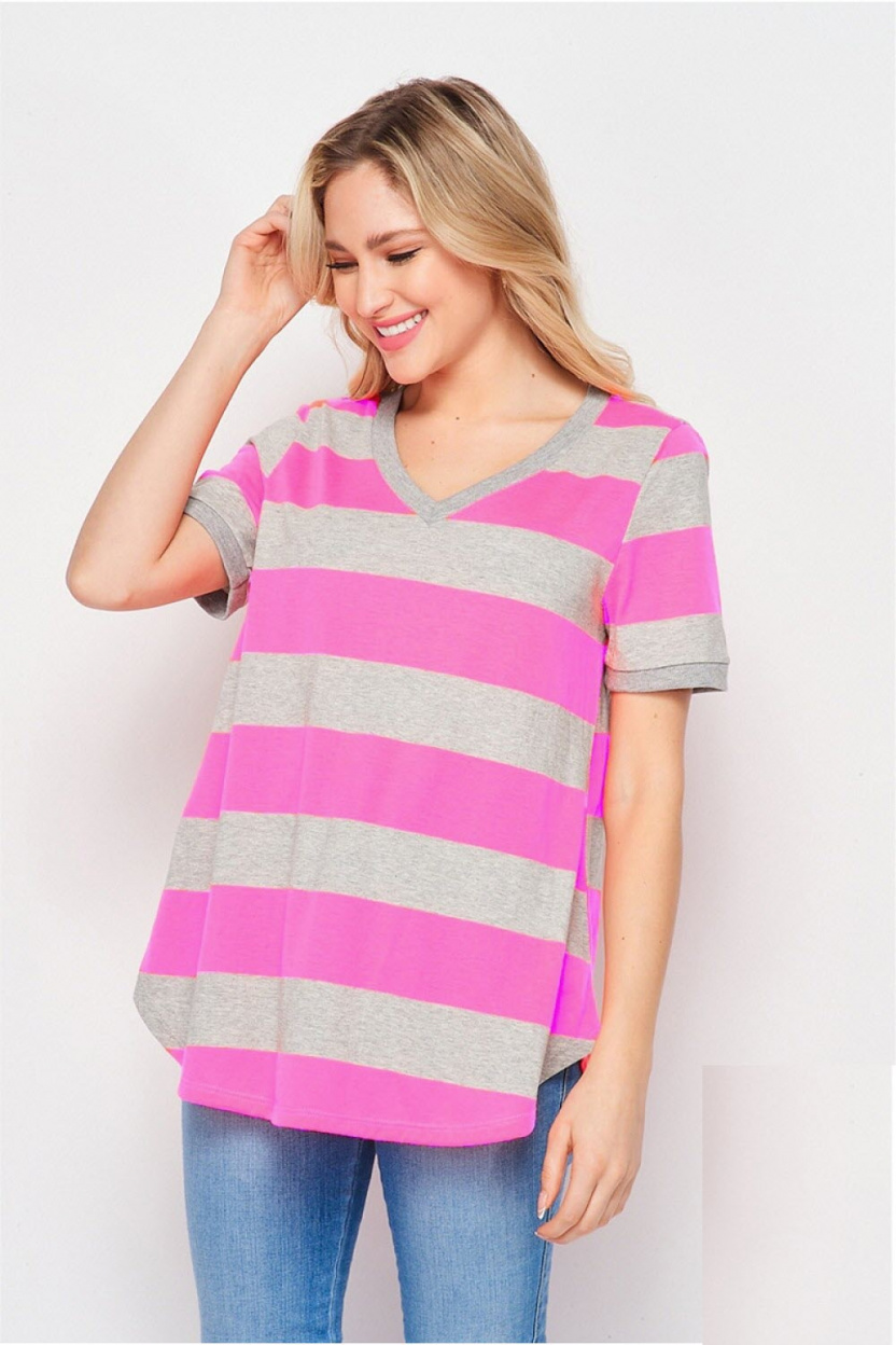 Gray and Hot Pink Striped V-Neck Top