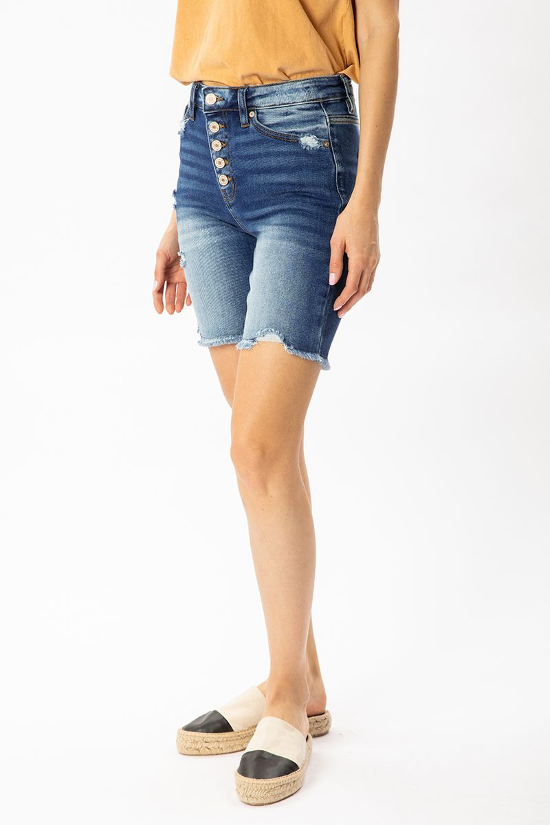 Hazel High Rise Button Down Skinny Bermuda Shorts left front