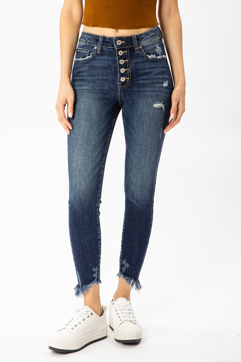 KanCan Gemma High Rise Ankle Skinny Jeans front relaxed