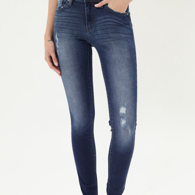 KanCan Mid Rise Super Skinny Jeans front hand in pocket