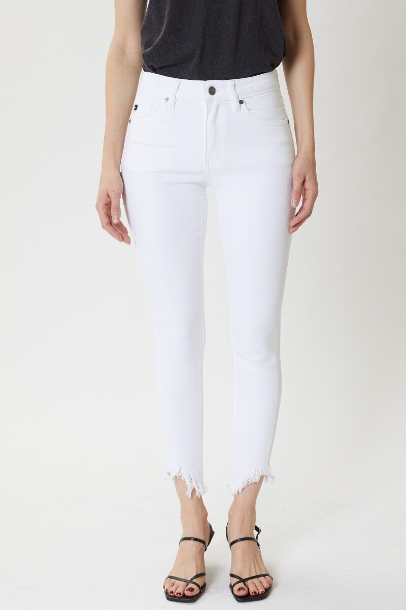 KanCan White High Rise Super Skinny Jeans front relaxed