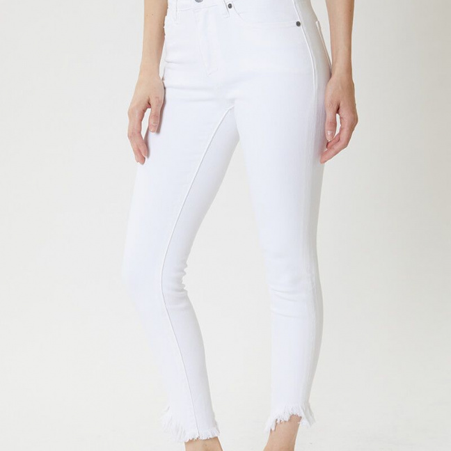 KanCan White High Rise Super Skinny Jeans left side