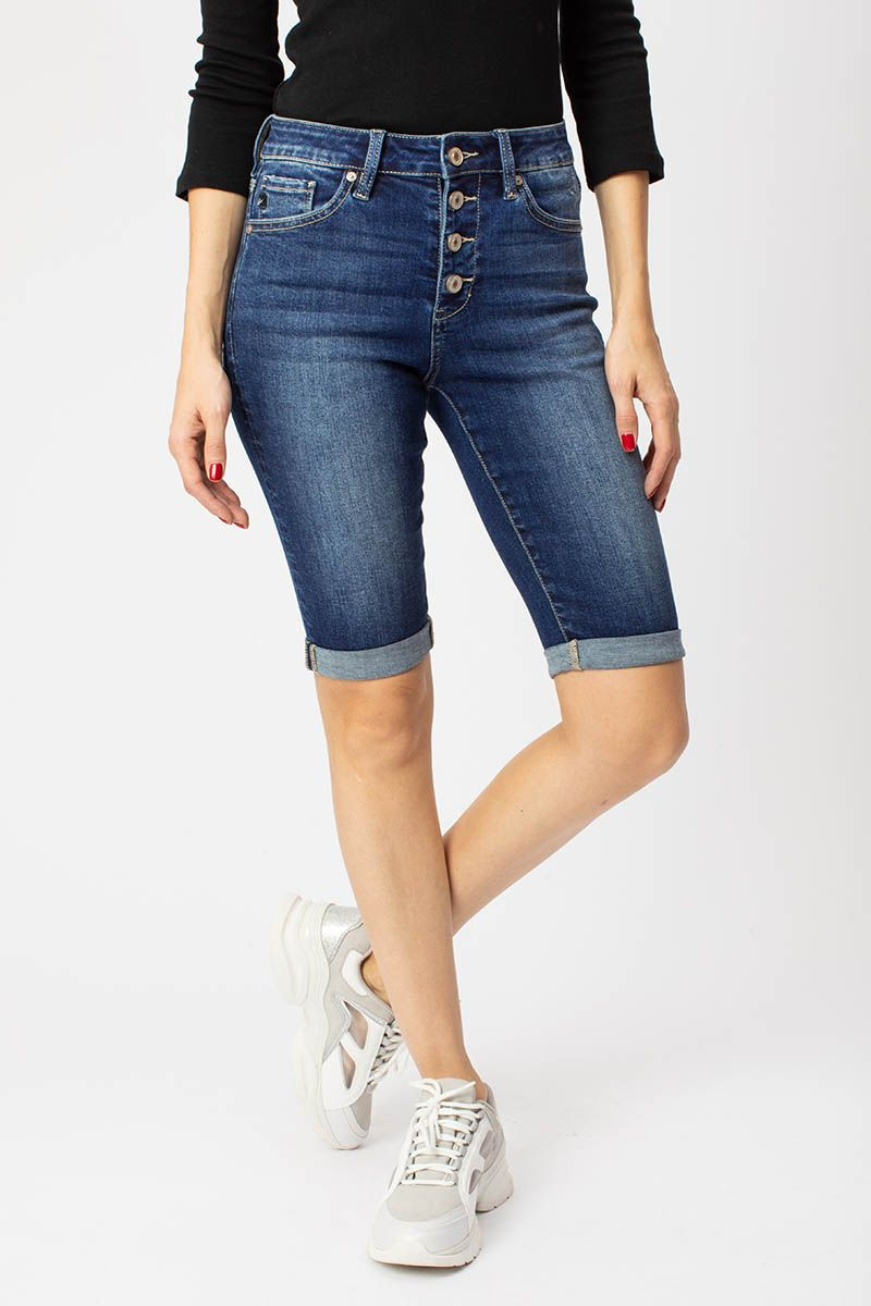 Karly High Rise Cuff Bermuda front relaxed
