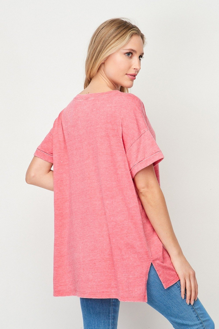 Mineral Wash Cuffed Sleeve Pocket Top Coral side