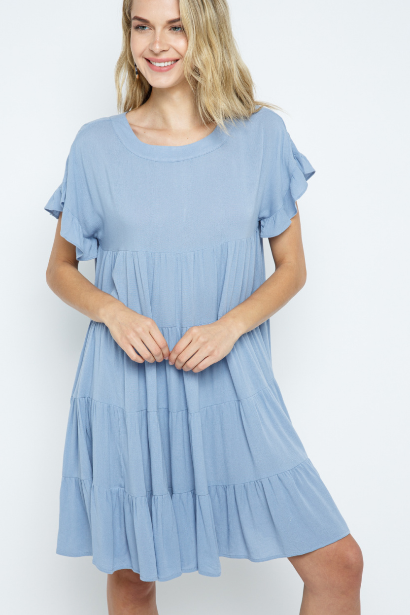 Ruffle Sleeve Aline Tiered Dress front hands touched 1