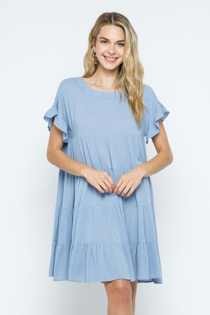 Ruffle Sleeve Aline Tiered Dress front hands touched 2