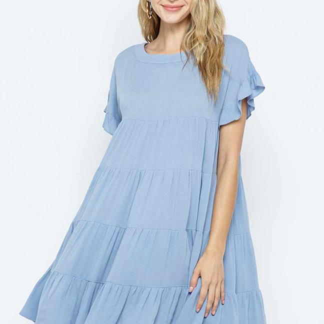 Ruffle Sleeve Aline Tiered Dress full