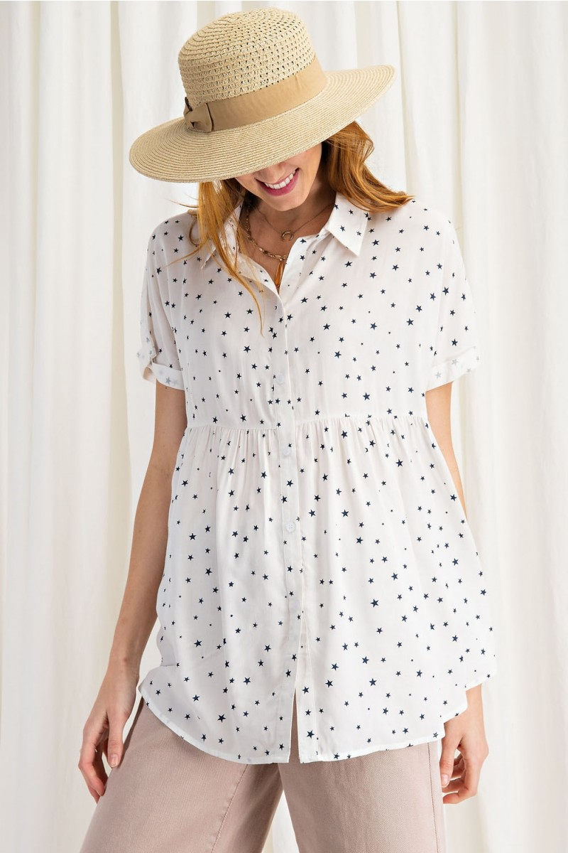 Timeless Star Printed Button Down Tunic Shirt front head down