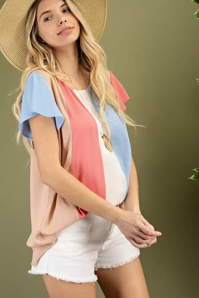 Coral block ruffle sleeve woven blouse side