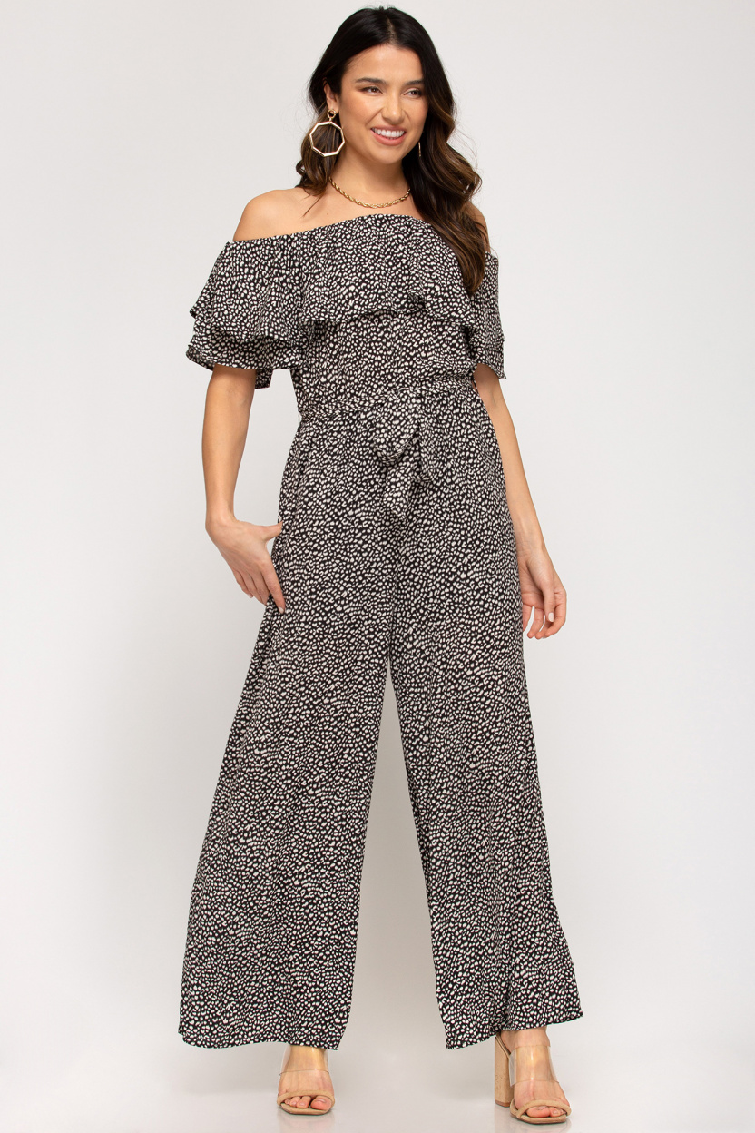 Off-the-shoulder ruffled woven printed jumpsuit waist sash lining black front