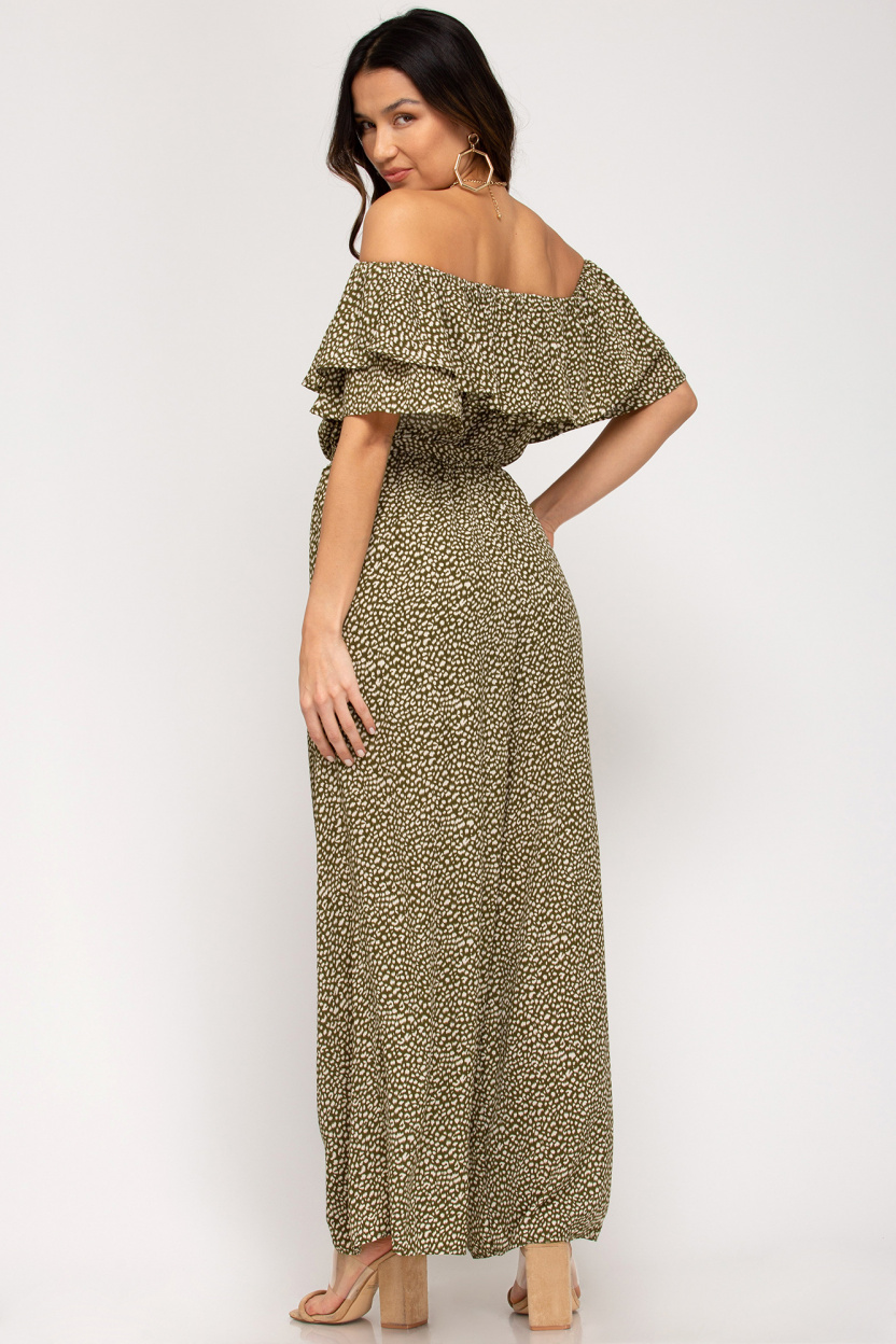 Off-the-shoulder ruffled woven printed jumpsuit waist sash lining olive back