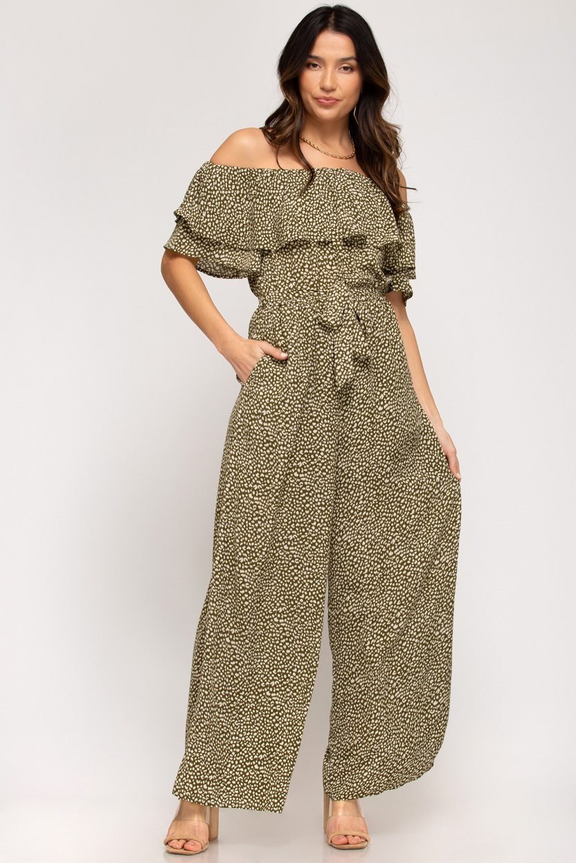 Off-the-shoulder ruffled woven printed jumpsuit waist sash lining olive front
