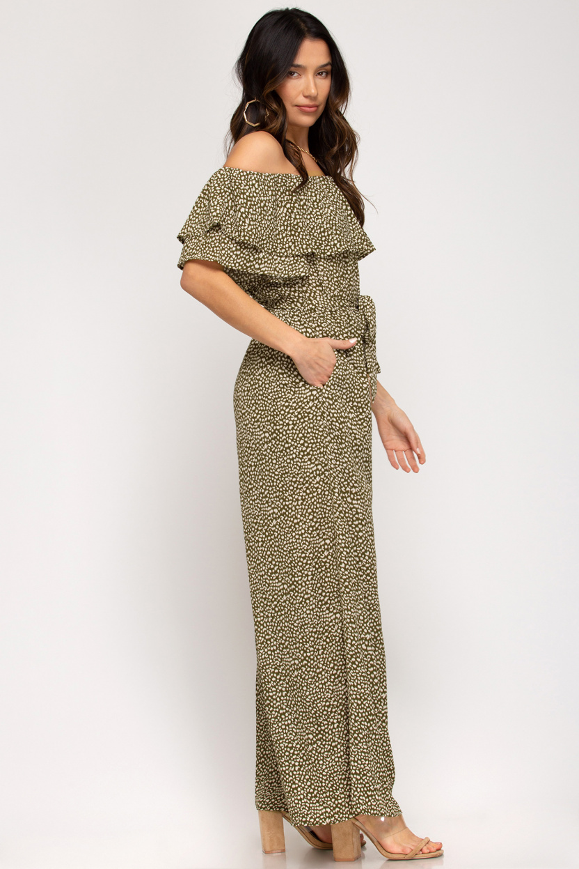 Off-the-shoulder ruffled woven printed jumpsuit waist sash lining olive side