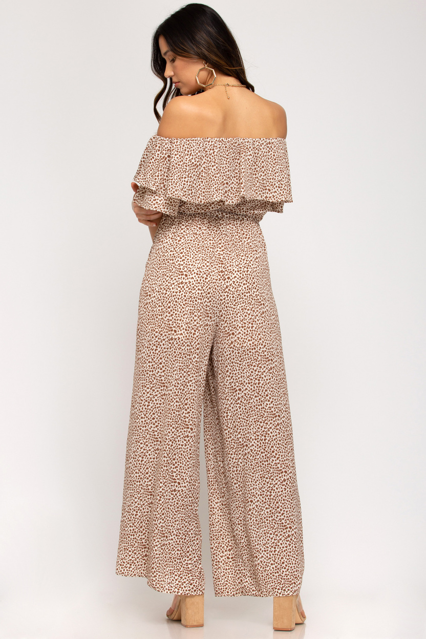 Off-the-shoulder ruffled woven printed jumpsuit waist sash lining taupe back