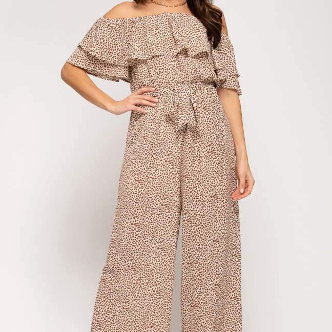 Off-the-shoulder ruffled woven printed jumpsuit waist sash lining taupe front