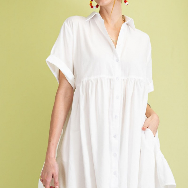 Timeless Essential Short Sleeve Cotton Voile Button Down Shirt Tunic