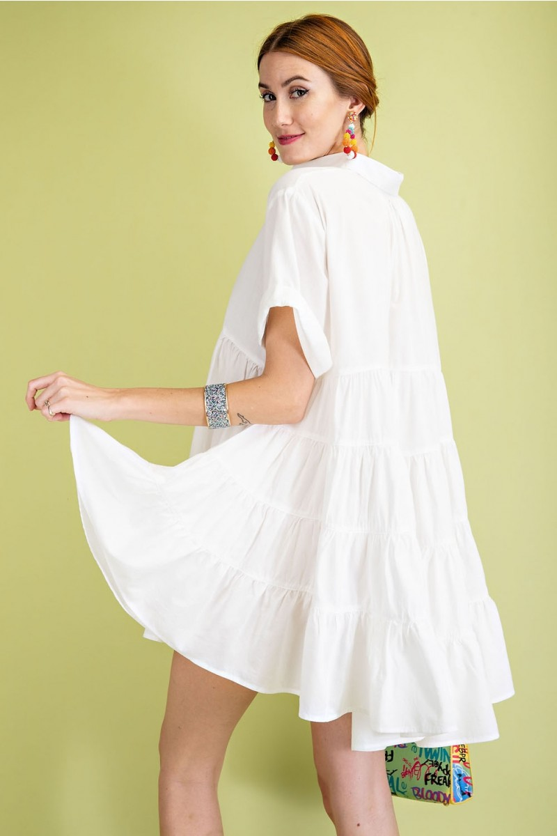 Timeless Essential Short Sleeve Cotton Voile Button Down Shirt Tunic back