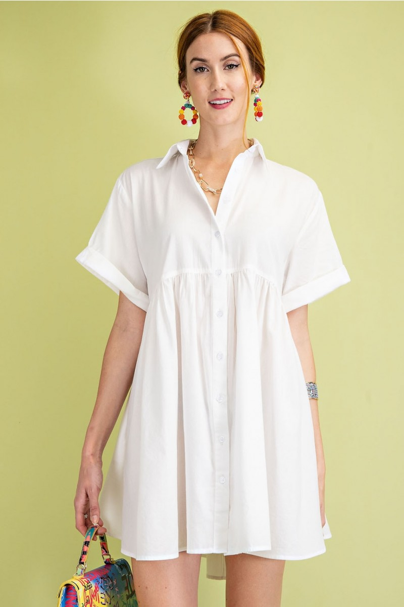 Timeless Essential Short Sleeve Cotton Voile Button Down Shirt Tunic front 2