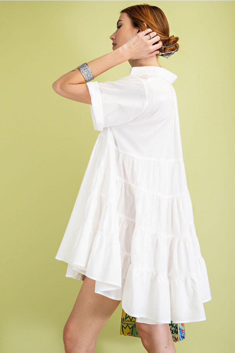 Timeless Essential Short Sleeve Cotton Voile Button Down Shirt Tunic side