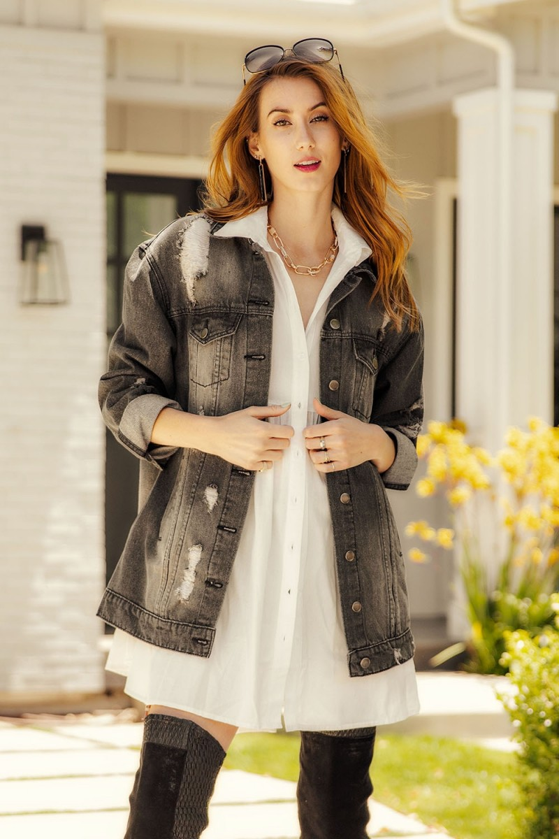 Timeless Essential Short Sleeve Cotton Voile Button Down Shirt Tunic with Jacket